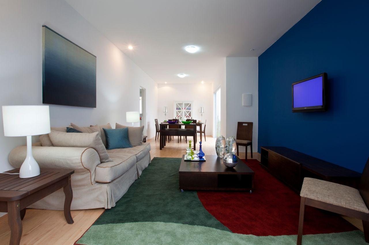 Sala De Tv Com Parede Azul E Tapete Verde De Brunete Fraccaroli  -> Sala De Tv Verde