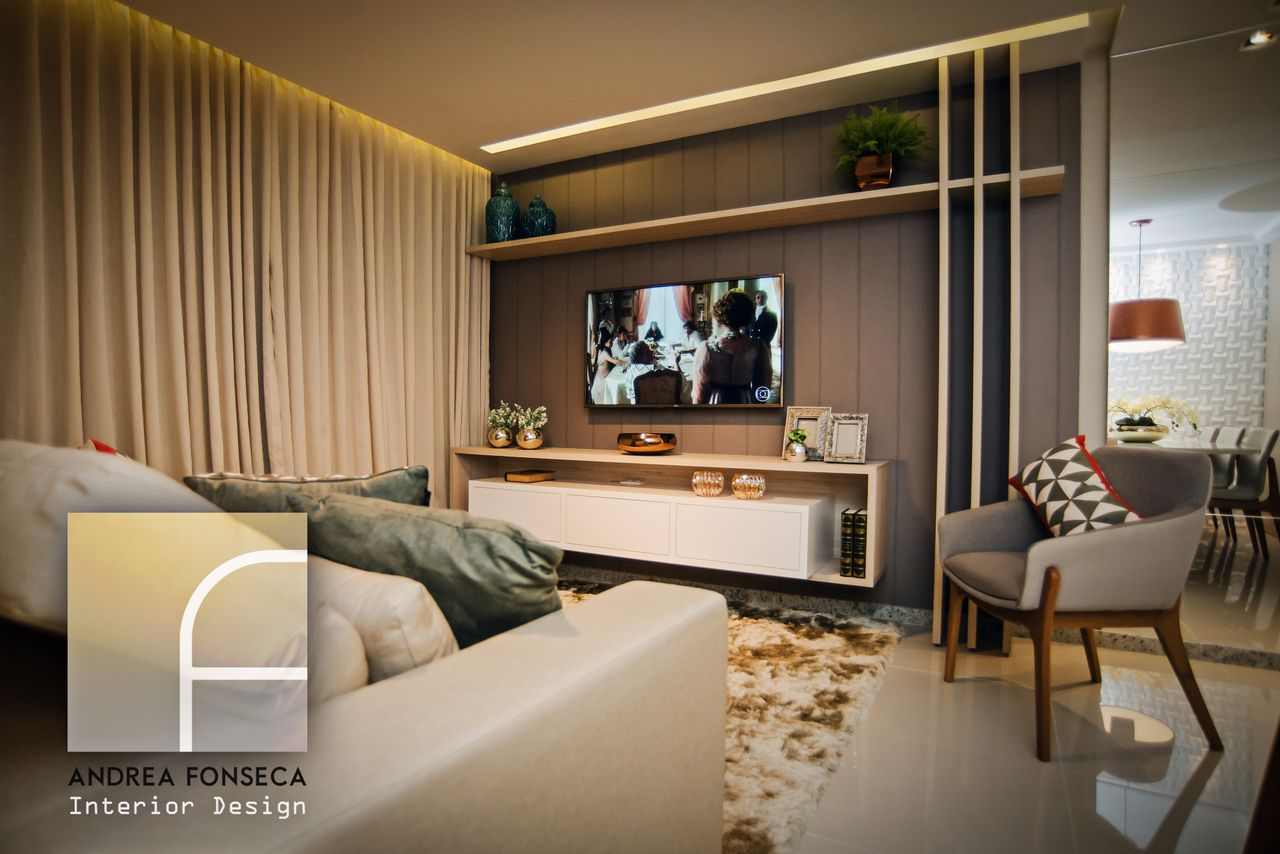 Sala De Tv Em Tons Neutros Com Prateleira Com Vaso De Andrea Fonseca  -> Vasos Na Sala De Tv