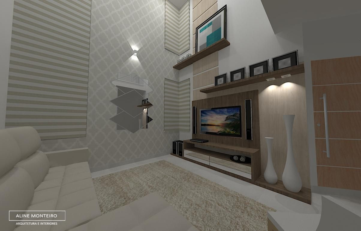 Sala Residencial Com P Direito Duplo Imagem De Aline Monteiro  -> Parede De Pe Direito Duplo Sala