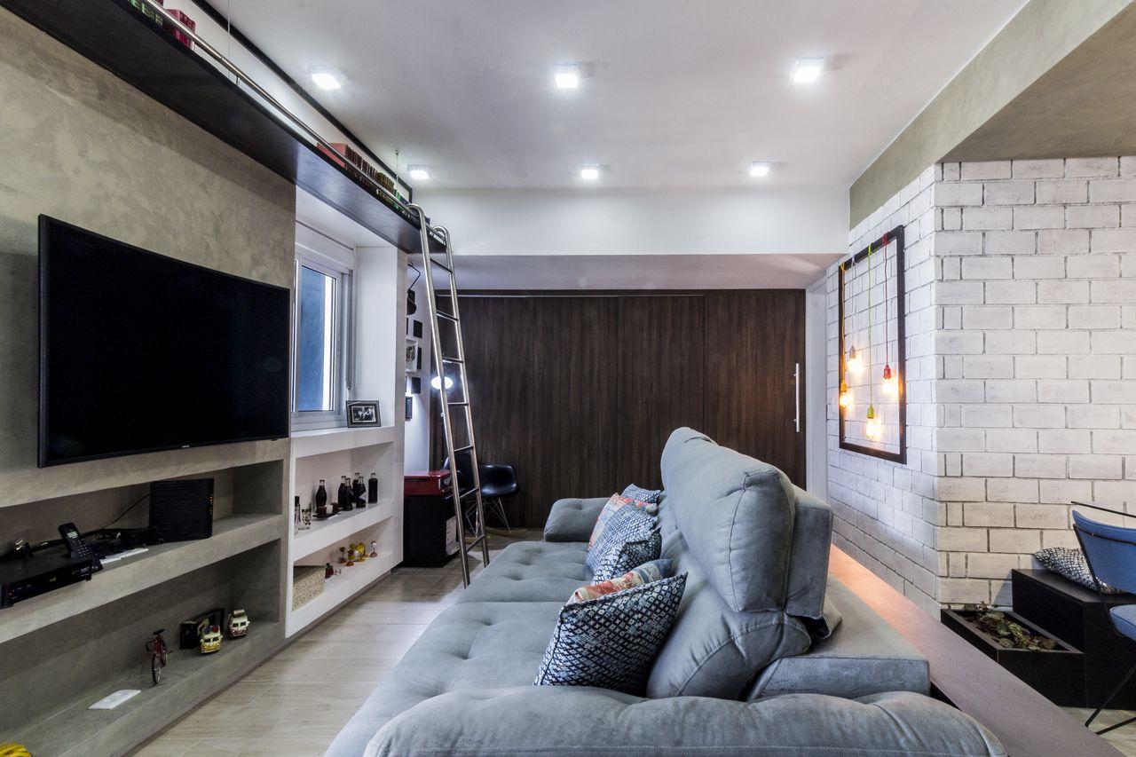 Sala Tv Com Painel De Cimento Queimado E Escada De Andr Freitas  -> Sala De Tv E Biblioteca