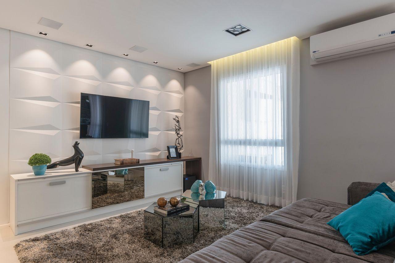 Sala Tv Com Revestimento 3d E Ilumina O Spot De Idealizzare  -> Fotos De Salas De Tv
