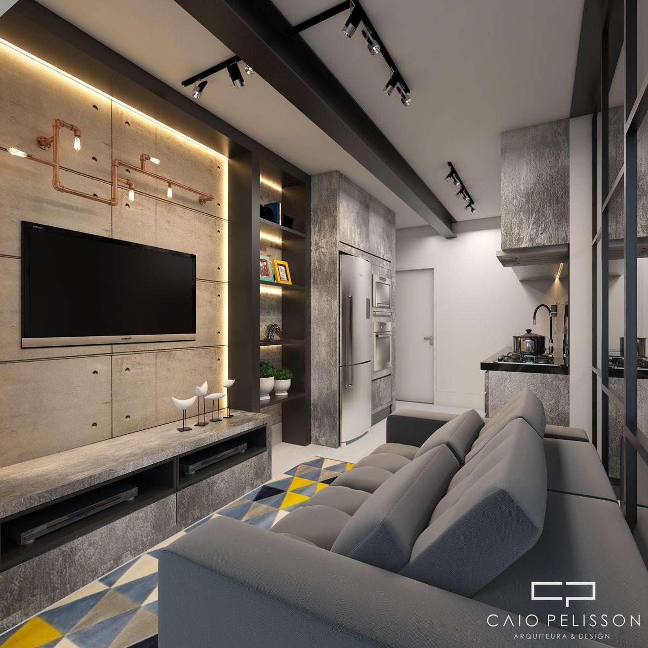 Sala Tv Estilo Industrial Com Lumin Ria Na Parede De Arquiteto Caio  -> Sala De Tv E Biblioteca
