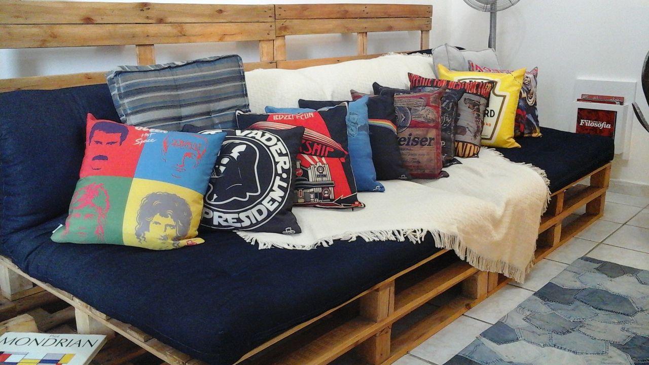 Sofa De Pallet Com Futon Azul Marinho De Rani Victor 133313 No