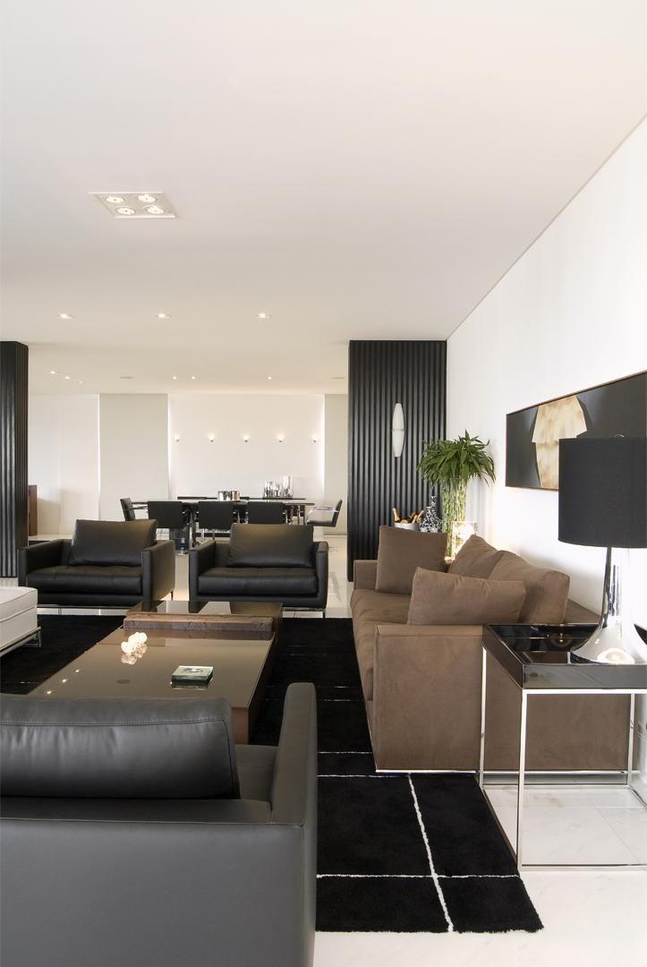 Sala De Estar Marrom E Branco ~ Sofá marrom e tapete preto de jayme bernardo arquitetura e design