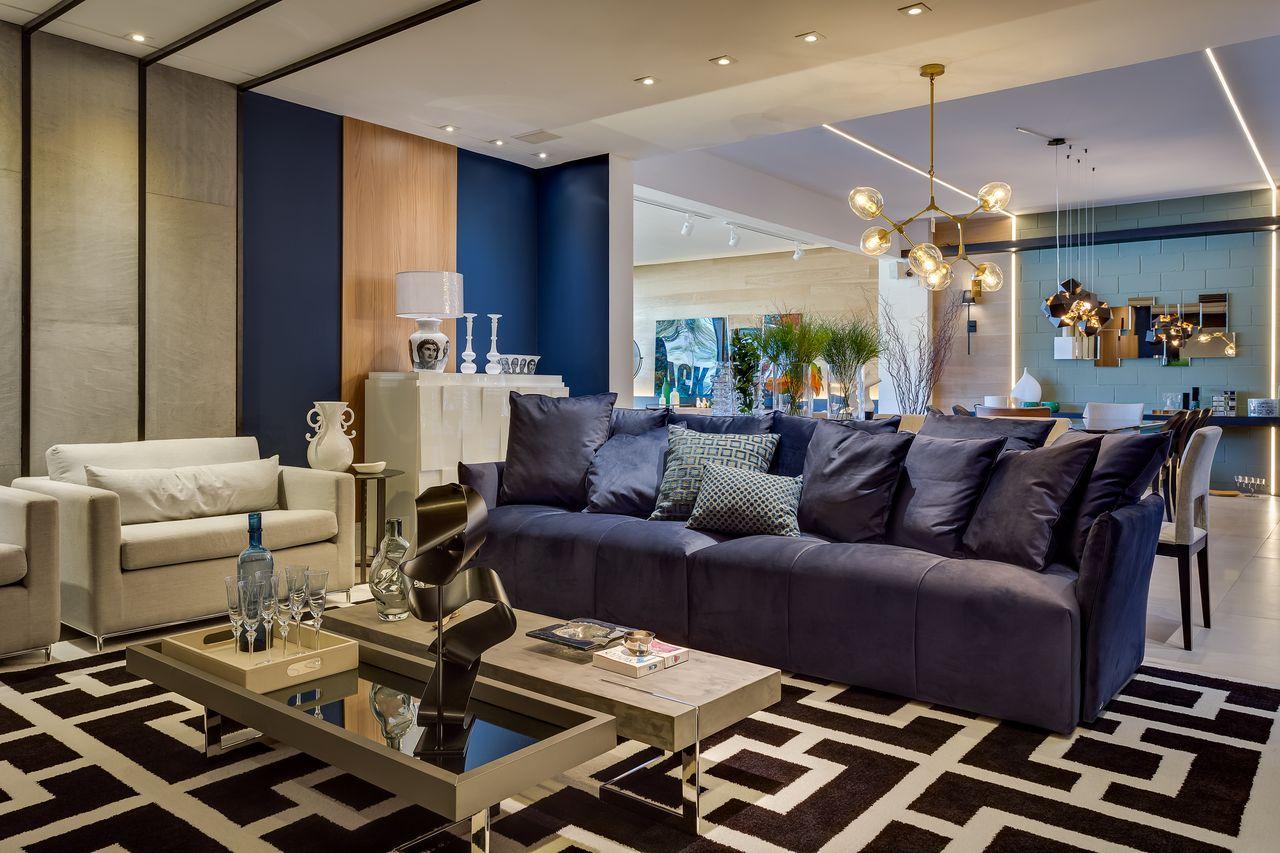 Tapete Preto Com Branco E Sof Azul Marinho De Inove Design 163231  -> Decoracao De Sala Azul Marinho