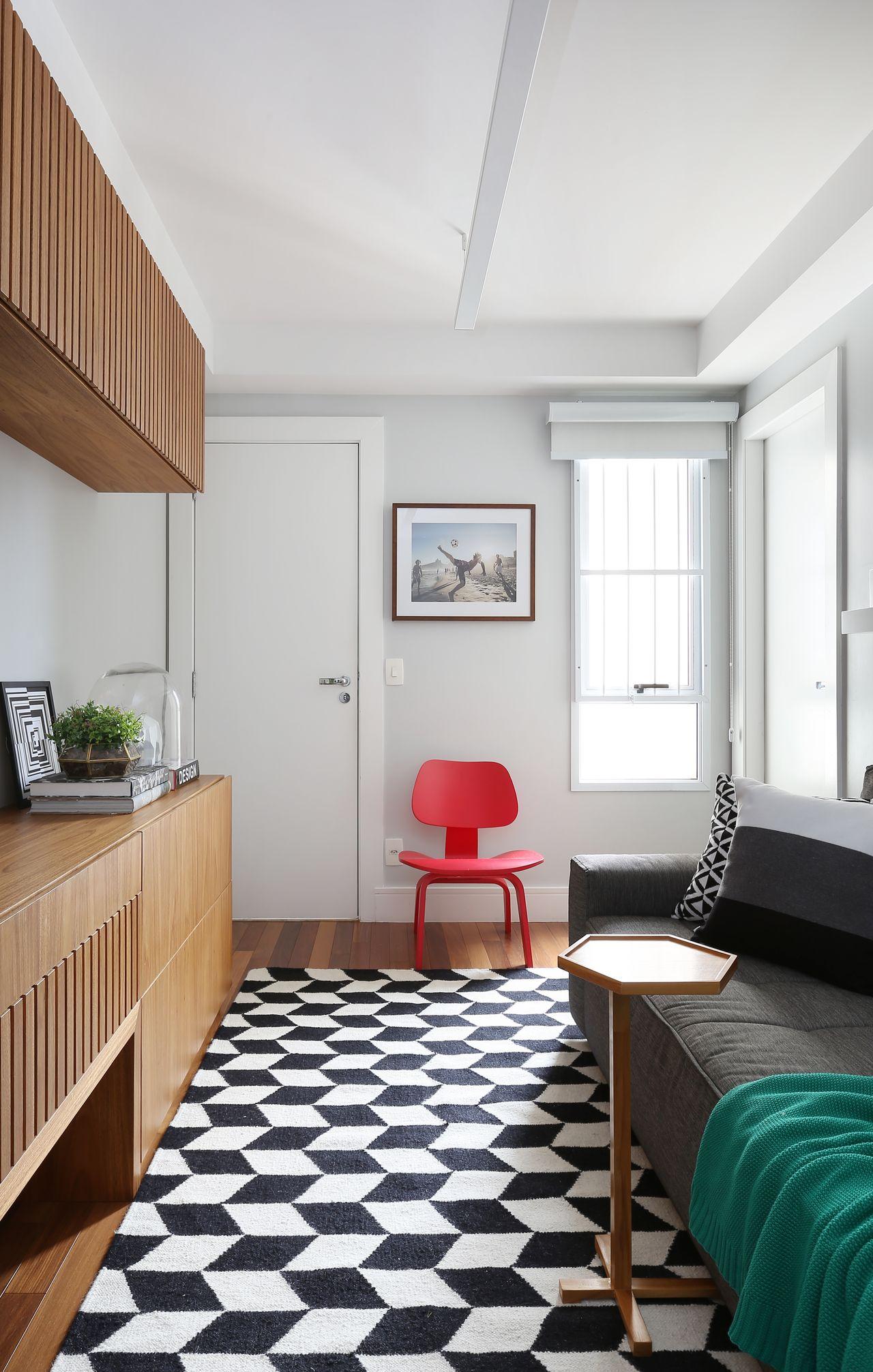 Decorao De Sala Preto E Branco Sala De Estar Minimalista Mveis Com  -> Tapete Sala Listrado Preto E Branco
