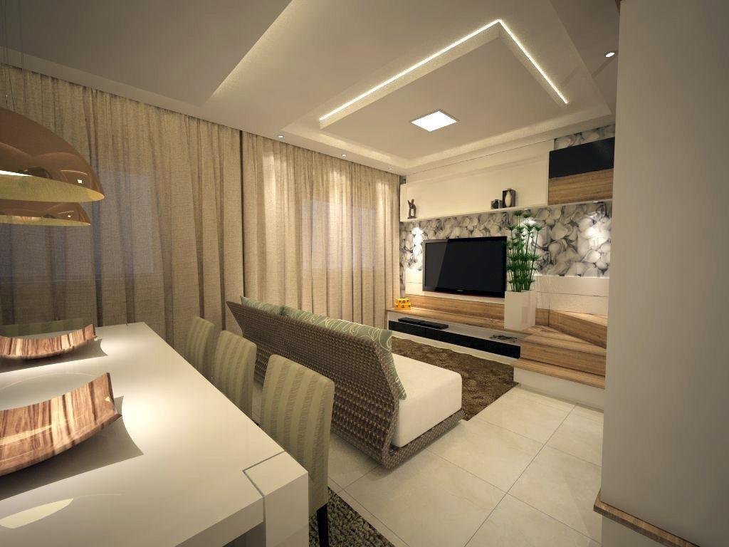 Gesso Teto Sala Moderno Teto Rebaixado E Decorado Em Gesso  -> Gesso Para Sala De Estar Pequena