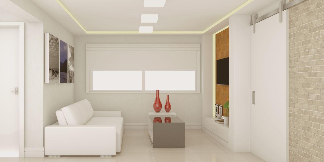 Sala De Estar Branca Com Vasos Vermelhos De Sck Arquitetos  -> Vasos Na Sala De Tv