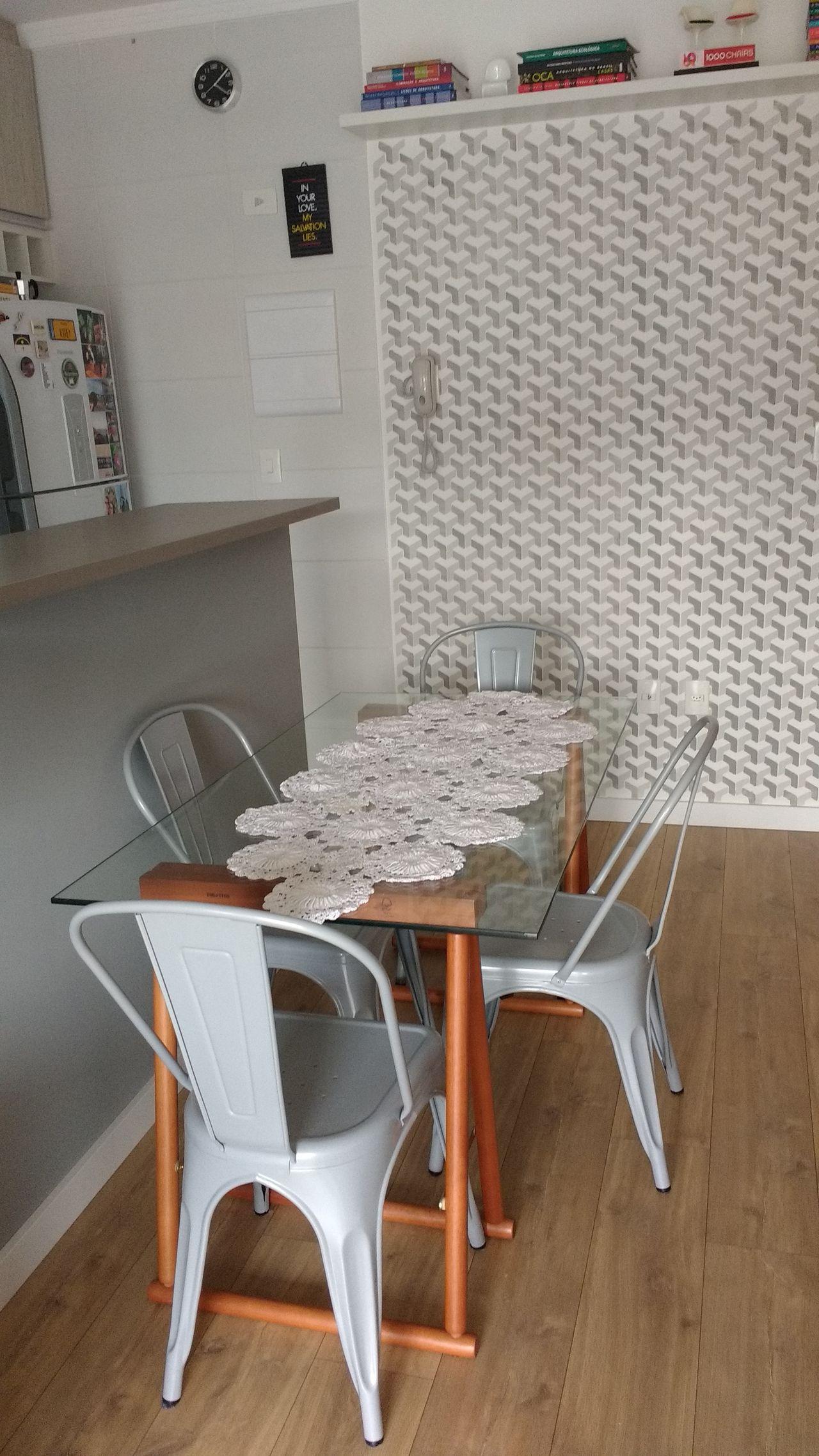 Cozinha Com Papel De Parede Geom Trico Cinza De Audrey Migliani
