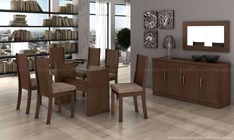 Sala de Jantar Cinza com Móveis de Madeira de LojasKD - 139341 no ... 42687f35774