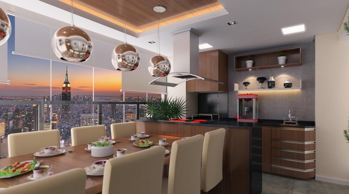 Sala De Jantar Com Cozinha Gourmet Integrada De Raduan Arquitetura