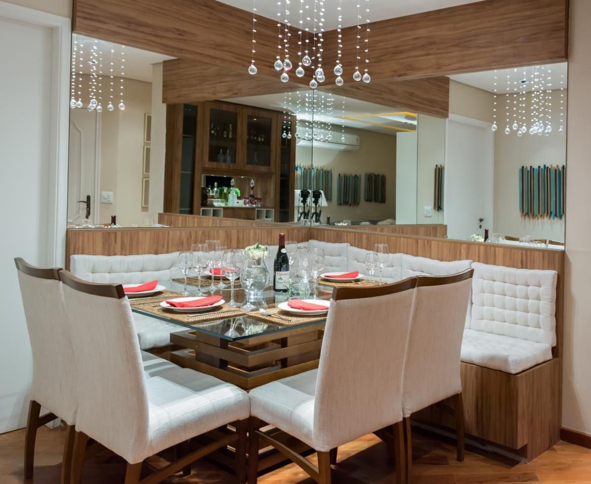 Sala De Jantar Com Lustre E Espelho De Raduan Arquitetura 101200  -> Lustre Para Sala De Apartamento