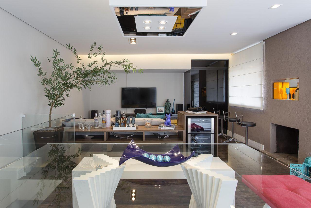 Decoração Sala de Jantar Mesa de jantar de vidro e banquetas metálicas 37003