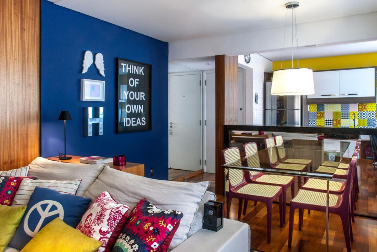 Sala De Jantar Com Parede Azul De Milena Aguiar 24768 No Viva Decora -> Decoracao Sala De Jantar Azul