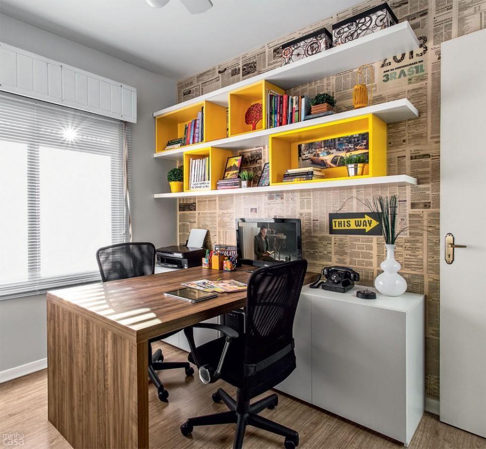 Decoração Sala de Jantar Home Office com parede de jornal revistavd 21680