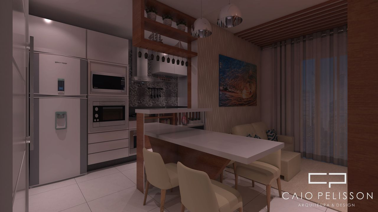 Sala De Jantar Integrada Cozinha Americana De Arquiteto Caio