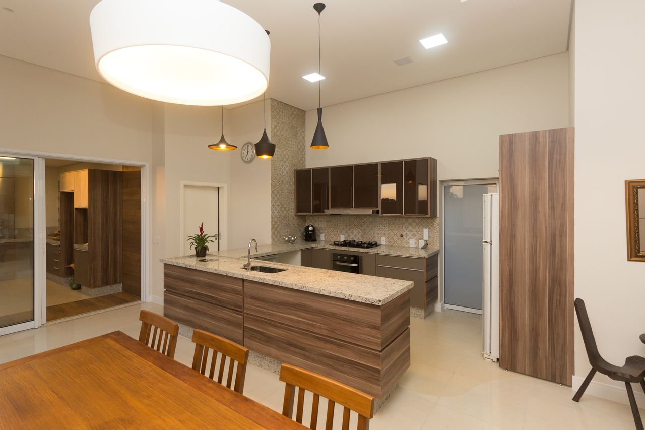 Sala De Jantar Integrada A Cozinha Neutra De Sa Engenharia E  -> Sala E Cozinha Integrada Como Decorar