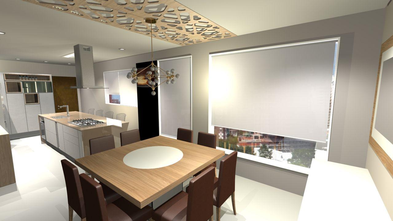 Sala De Jantar Integrada Cozinha Gourmet Com Ilha De Marcia Addor