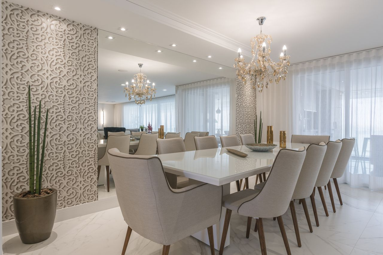 Jantar Branco Com Papel De Parede 3d E Espelho De Sandra Pompermayer  -> Sala De Estar Decorada Com Papel De Parede E Espelho