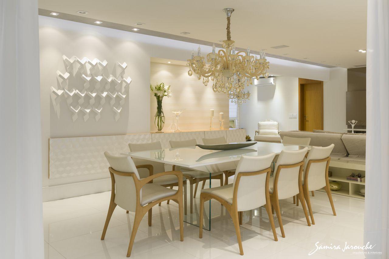 Sala De Jantar Detalhe Painel Madeira 3d De Samira Jarouche  -> Lustre Para Sala De Jantar Dourado
