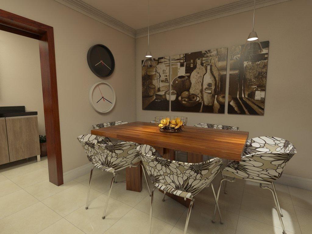 Image of: Sala De Jantar Com Mesa De Jantar Em Madeira Com Cadeira Almofadada F Ednilson Hinckel 40171 Viva Decora