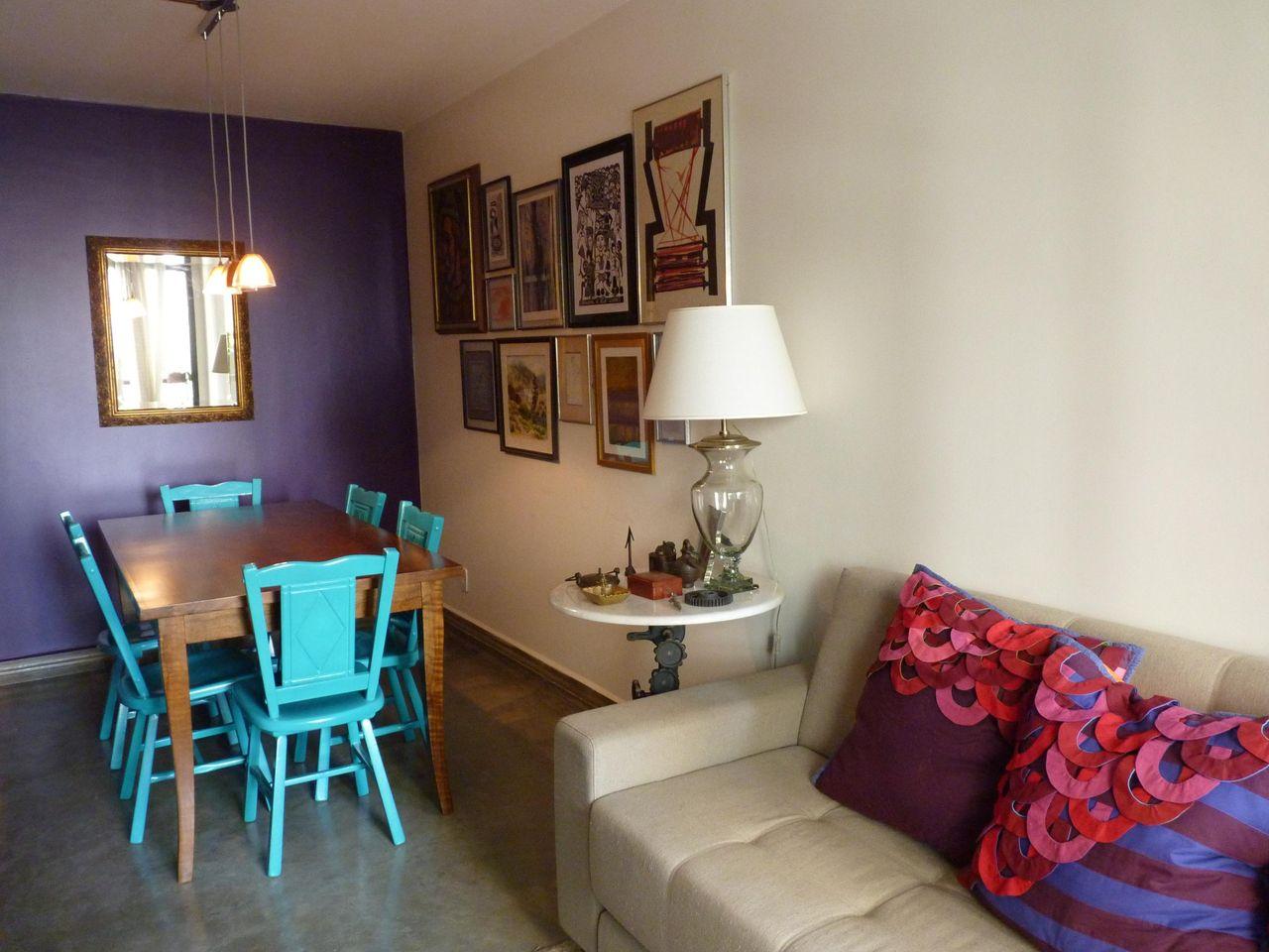 Mesa De Madeira Com Cadeira Azul De Laura Reily 45371 No Viva Decora -> Decoracao Sala De Jantar Azul