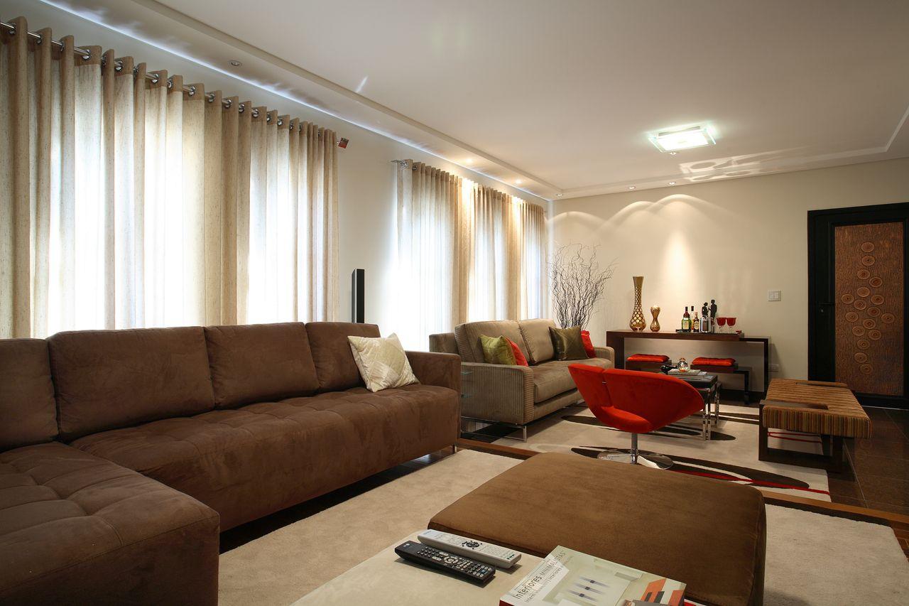 Sala De Estar Integrada Com Sala De Tv De Claudia Arakaki 131544  -> Sala De Tv Estar