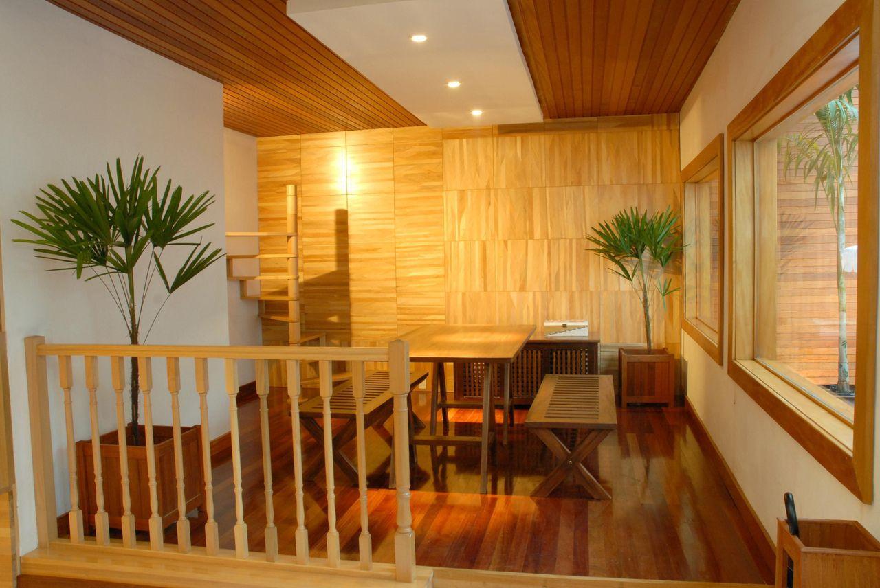 Sala De Jantar De Gesso ~ Decoração Sala de Jantar Teto de gesso com madeira com pontos de