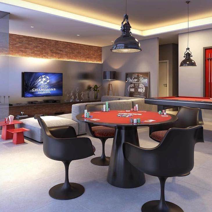 Decoração Sala de jogos Parede de tijolinho e painel tv com iluminação led  revistavd 184676 4f1482601bb8c