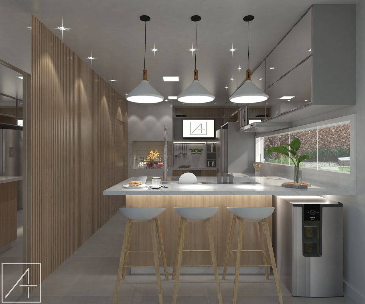 Vista Da Sala De Jantar Para A Cozinha Gourmet De Andr A Buss