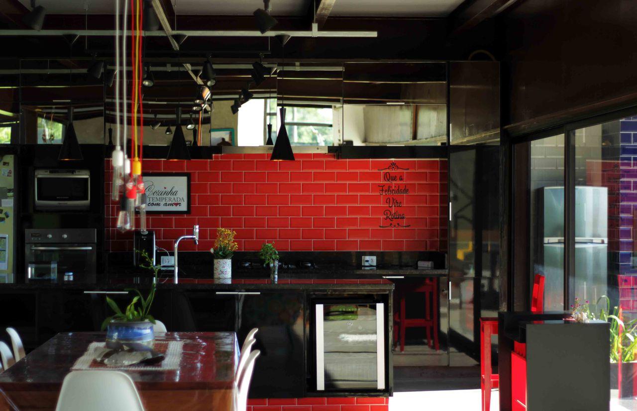 Cozinha Gourmet Moderna Preta E Vermelha De Flavia Medina 135521