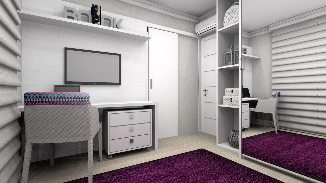 Quarto Branco Com Tapete Roxo E Escrivaninha De Wilson Mobilier