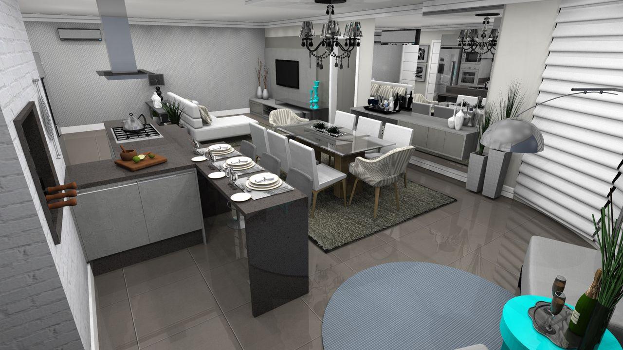 Cozinha Com Churrasqueira Integrada As Salas De Wilson Mobilier