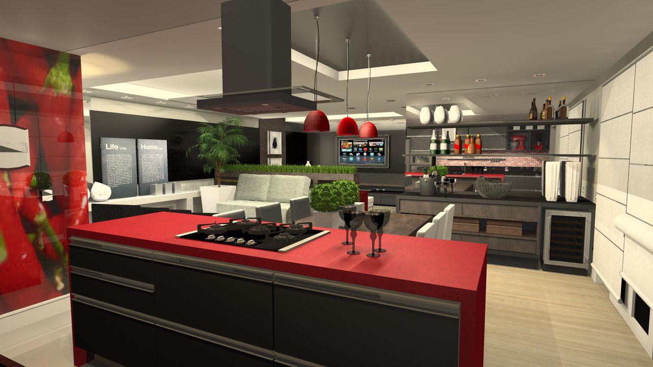 Cozinha Gourmet Com Bancada Vermelha E Cooktop De Wilson Mobilier
