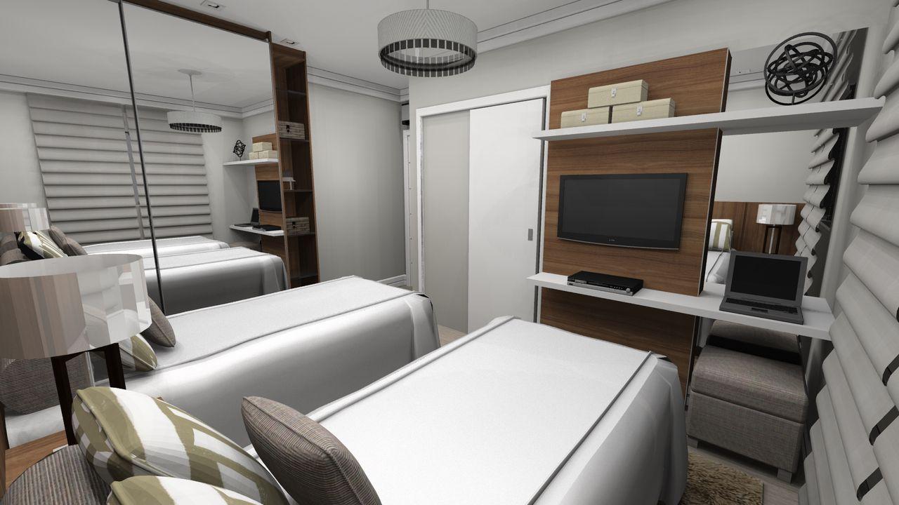 Quarto De Solteiro Branco Com Tv Escrivaninha De Wilson Mobilier  ~ Quarto De Solteiro Com Escrivaninha