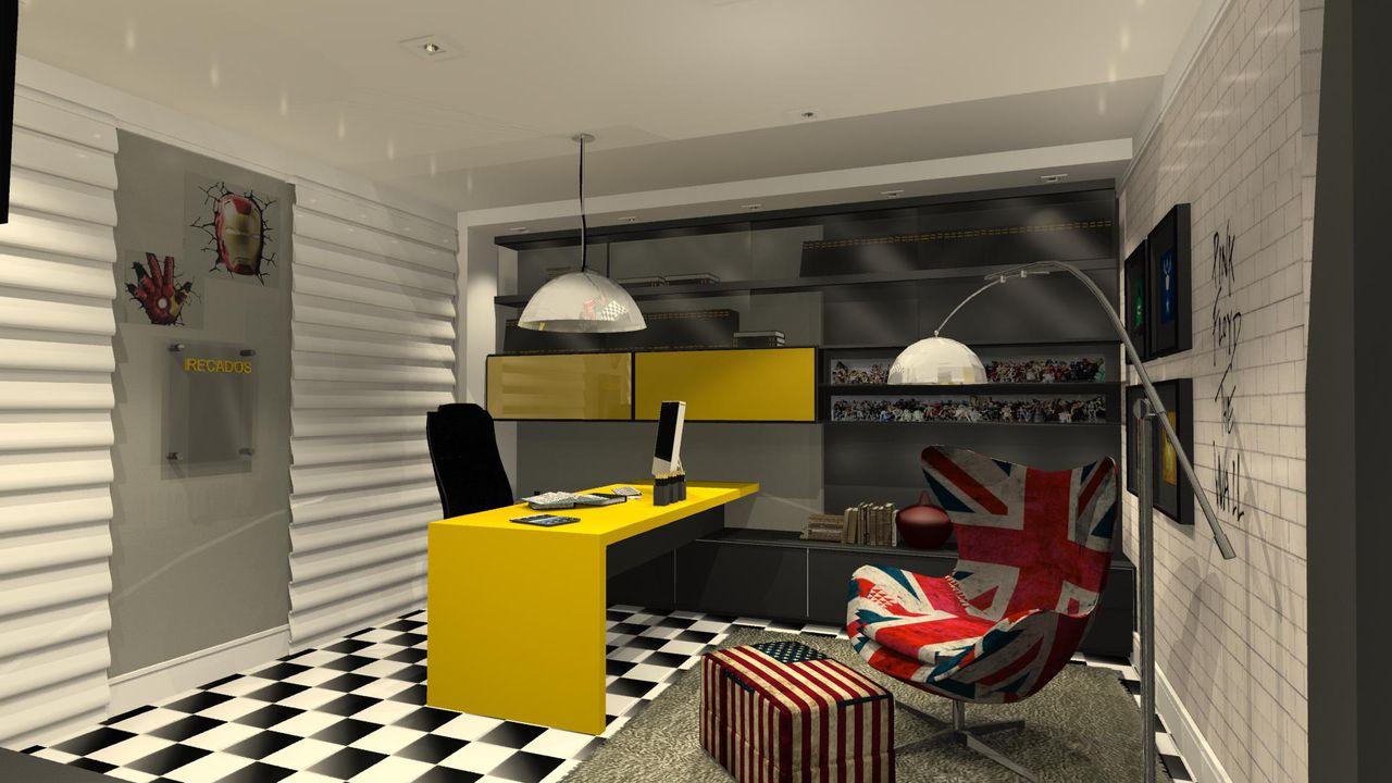 decorao escritrio moderno preto e branco com poltrona