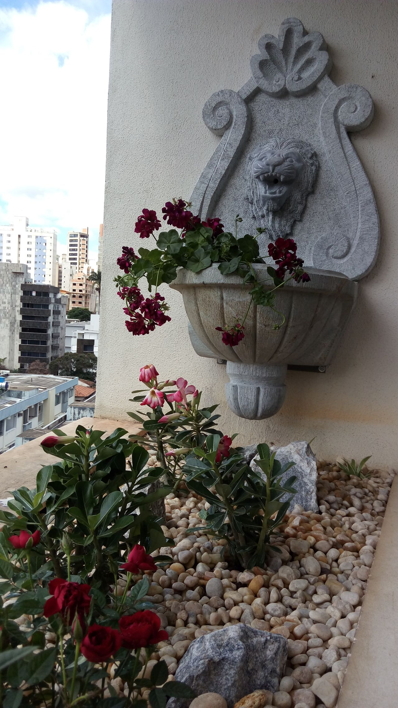 Jardim Detalhe da jardineira com chafariz de leão casagreenpaisagismo 141865