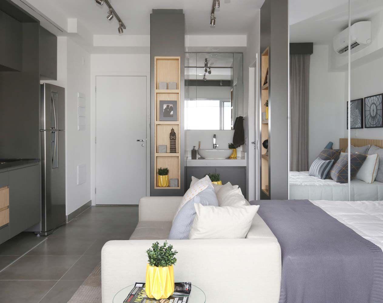 Apartamento Pequeno Com Ambientes Integrados De Sesso Dalanezi  ~ Banheiro Integrado Ao Quarto E Quarto Pequeno De Menino